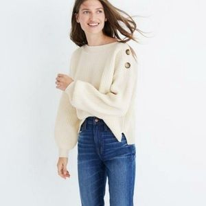 Madewell Ivory Sweater Merino Wool Blend Buttons